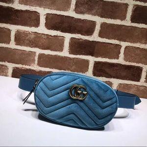 Blue Velvet GG Marmont 2.0 Belt Bag
